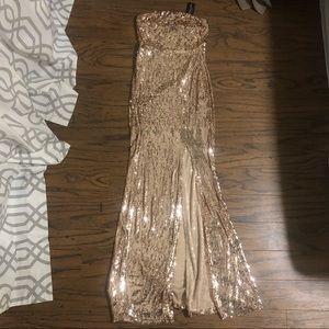 Strapless Rose gold formal dress